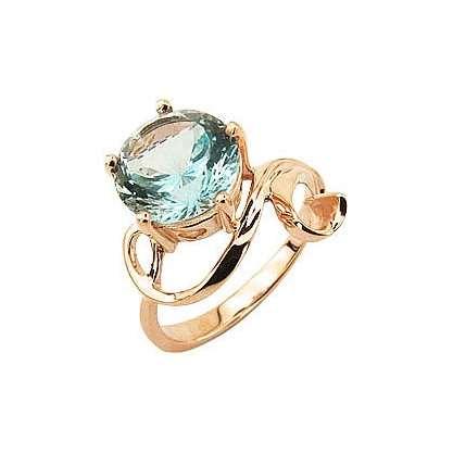 Кольцо. Голубой топаз. Арт.012Т из золота 585 пробы
