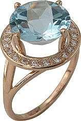 Кольцо. Голубой топаз. Арт.044ТКц из золота 585 пробы