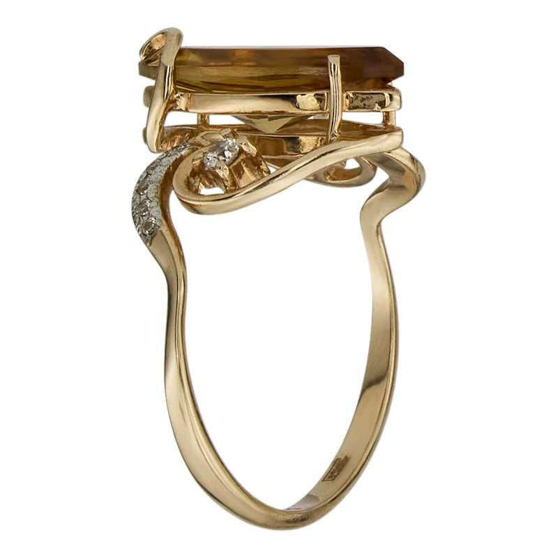 Кольцо. Цитрин. Арт.067ЦКц из золота 585 пробы