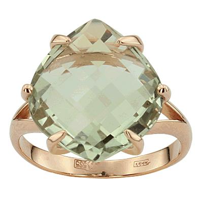 Кольцо. Аметист зеленый. Арт.1015Аз из золота 585 пробы