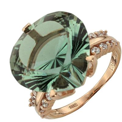 Кольцо. Аметист зеленый. Арт.1054АзКц из золота 585 пробы