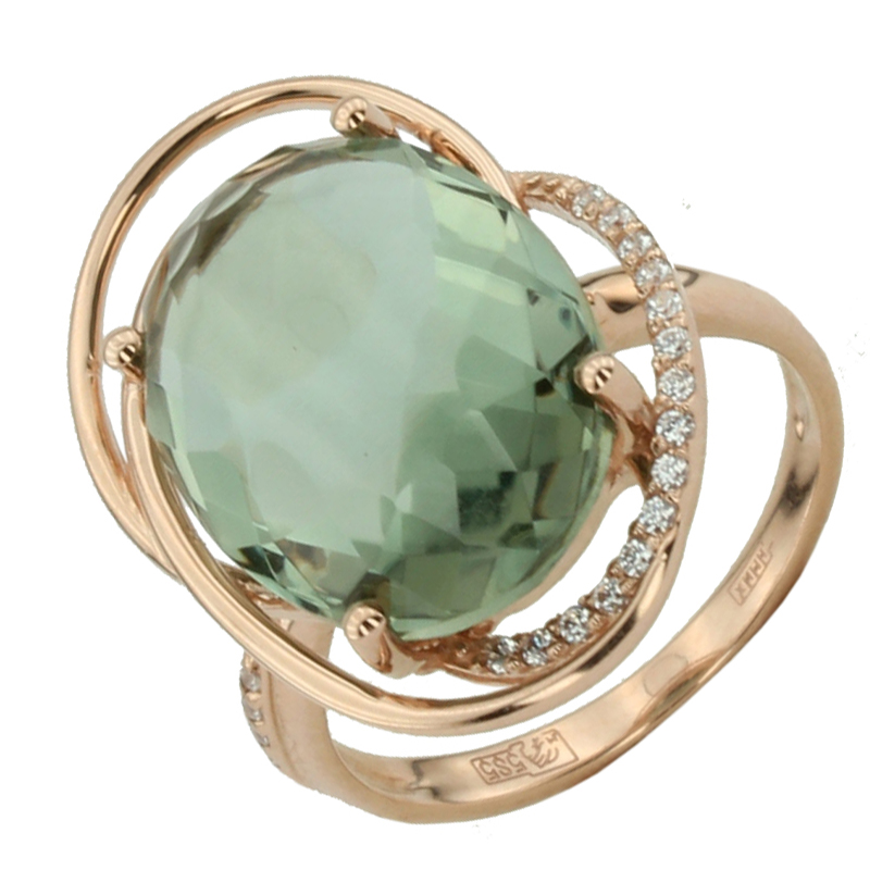 Кольцо. Аметист зеленый. Арт.1061АзКц из золота 585 пробы