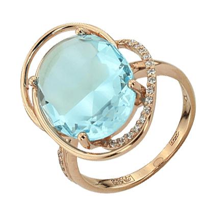 Кольцо. Голубой топаз. Арт.1061ТКц из золота 585 пробы
