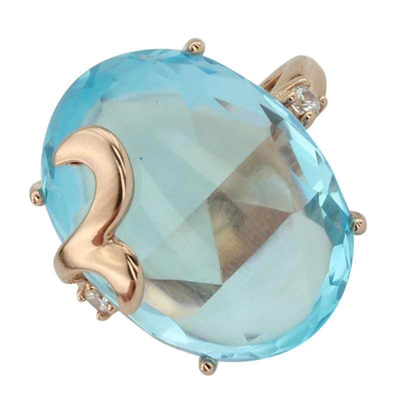 Кольцо. Голубой топаз. Арт.1072ТКц из золота 585 пробы