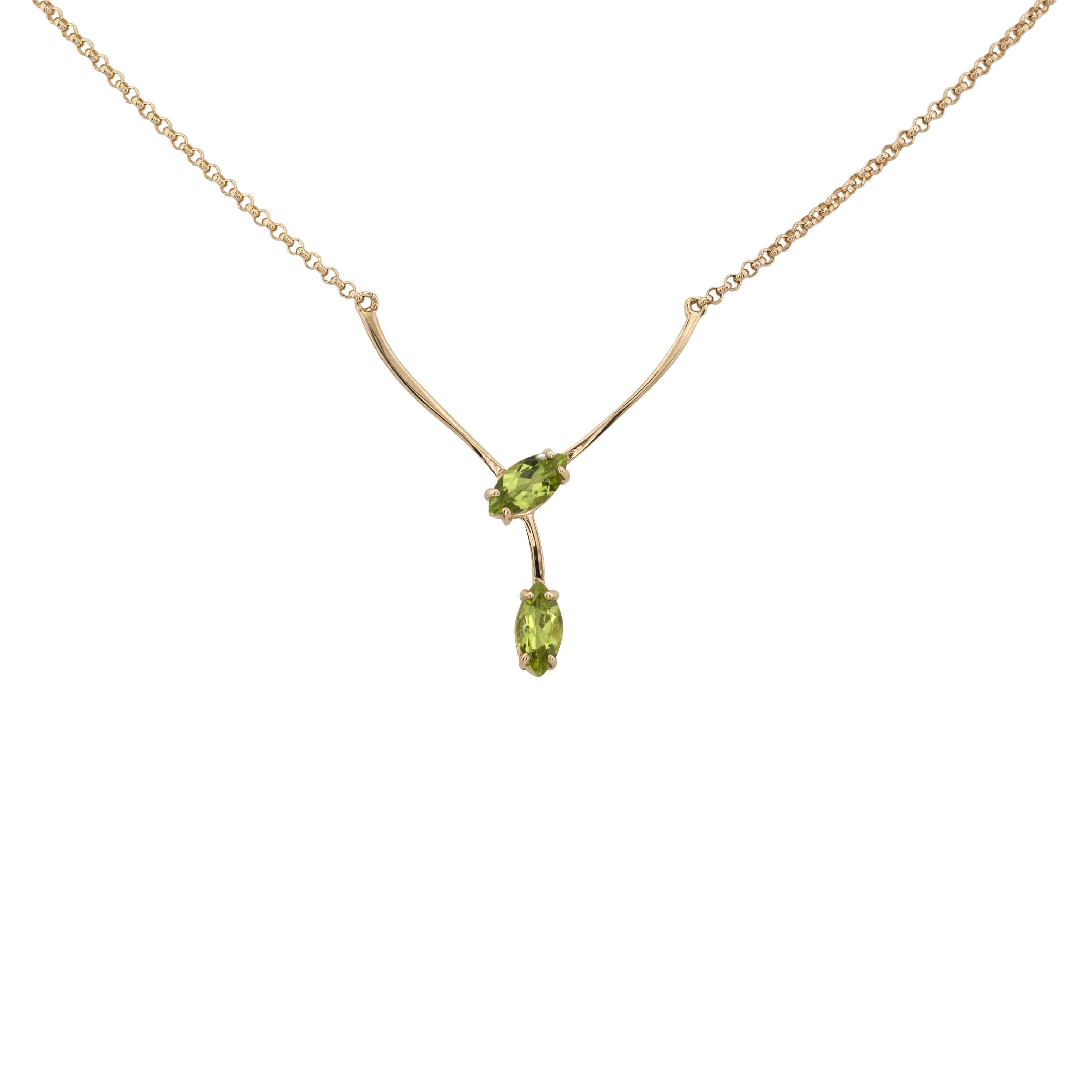 Колье. Хризолит. Арт.1110Х из золота 585 пробы