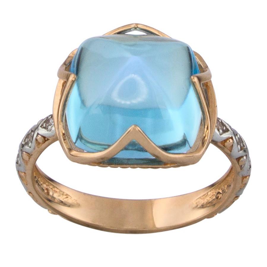 Кольцо. Голубой топаз. Арт.1174ТКц из золота 585 пробы