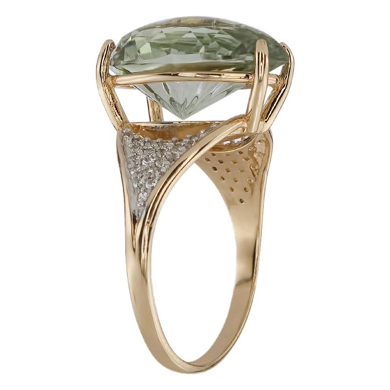 Кольцо. Аметист зеленый. Арт.1348АзКц из золота 585 пробы
