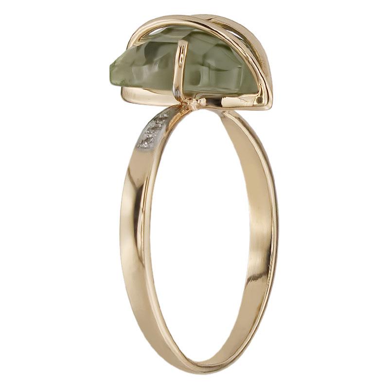 Кольцо. Аметист зеленый. Арт.1354АзКц из золота 585 пробы