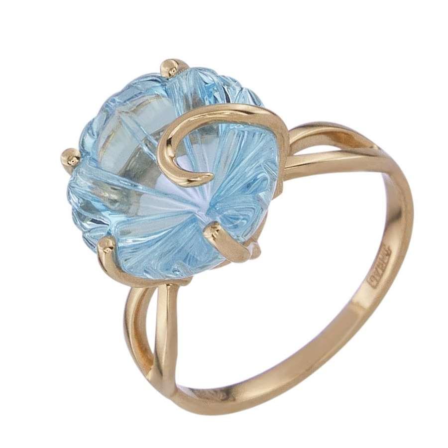Кольцо. Голубой топаз. Арт.1355Т из золота 585 пробы