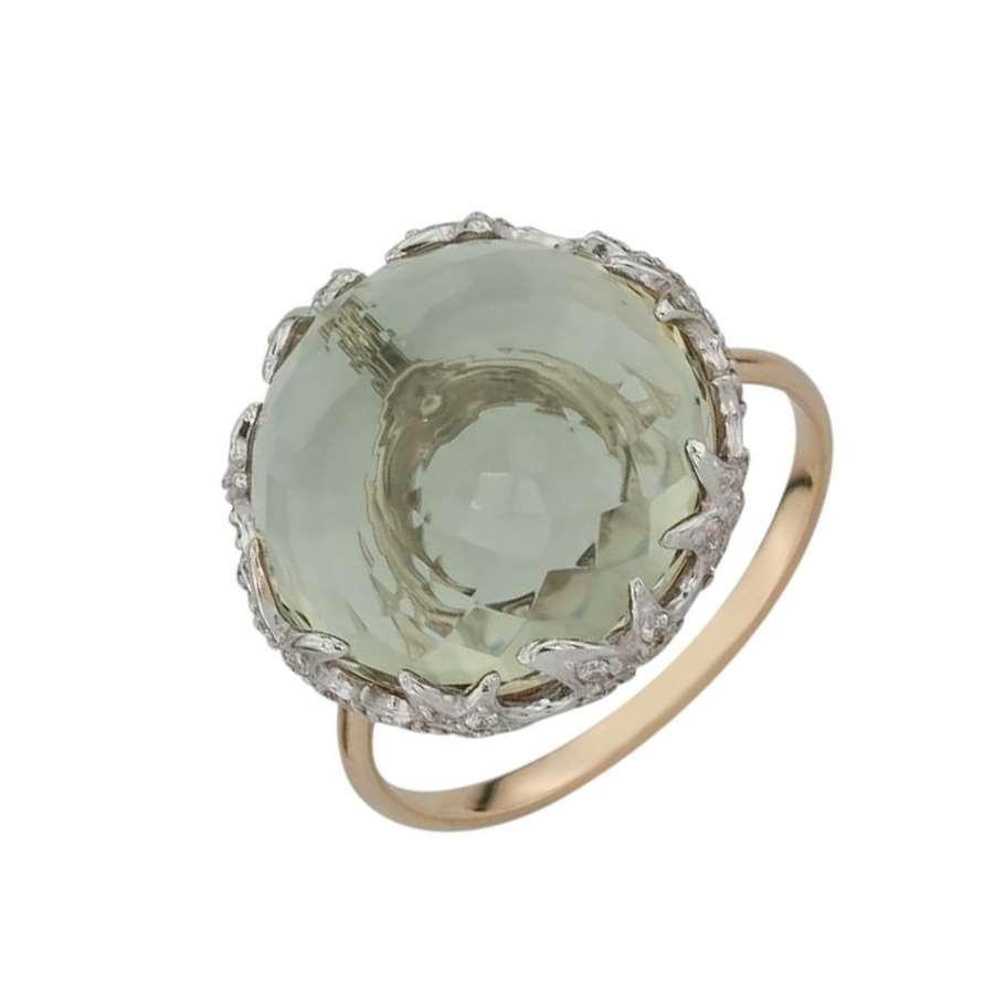 Кольцо. Аметист зеленый. Арт.1410АзКц из золота 585 пробы