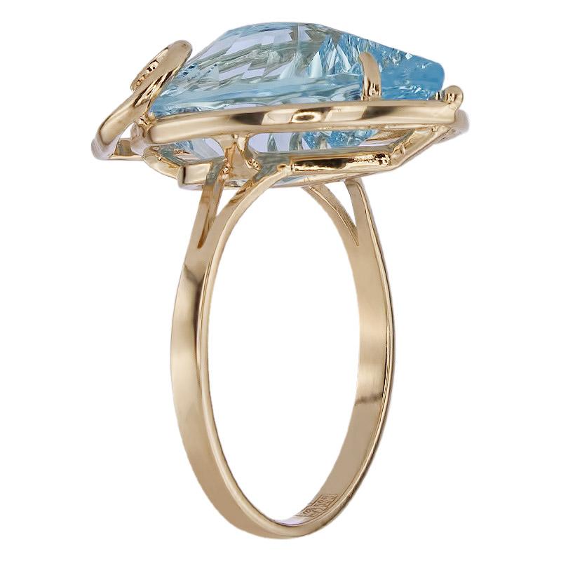 Кольцо. Голубой топаз. Арт.1457ТКц из золота 585 пробы