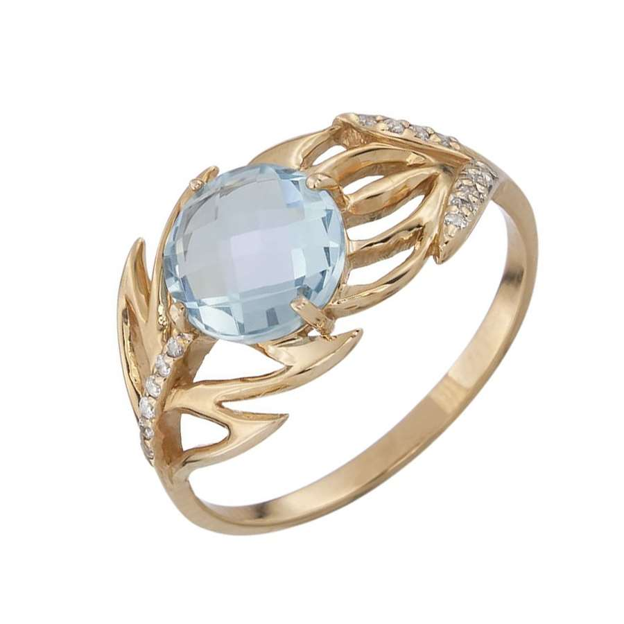 Кольцо. Голубой топаз. Арт.1459ТКц из золота 585 пробы