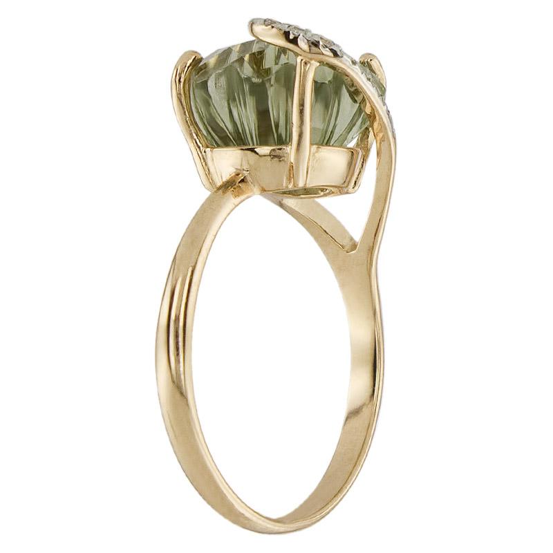 Кольцо. Аметист зеленый. Арт.1483АзКц из золота 585 пробы