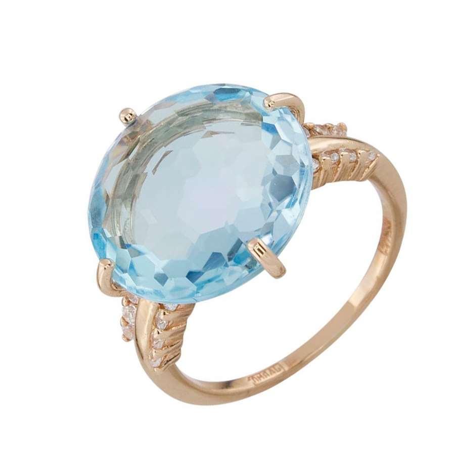 Кольцо. Голубой топаз. Арт.1484ТКц из золота 585 пробы