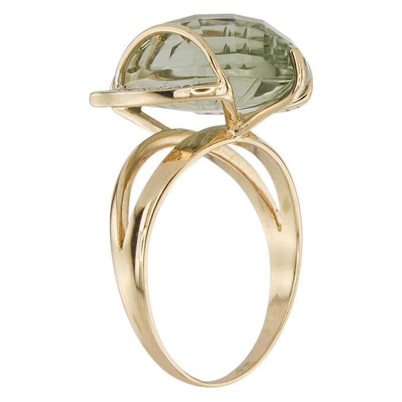 Кольцо. Аметист зеленый. Арт.1491АзКц из золота 585 пробы