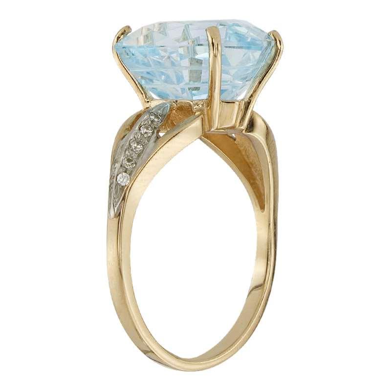 Кольцо. Голубой топаз. Арт.1512ТКц из золота 585 пробы