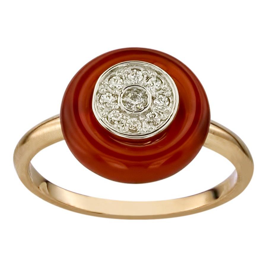 Кольцо. Сердолик. Арт.1530СерКц из золота 585 пробы