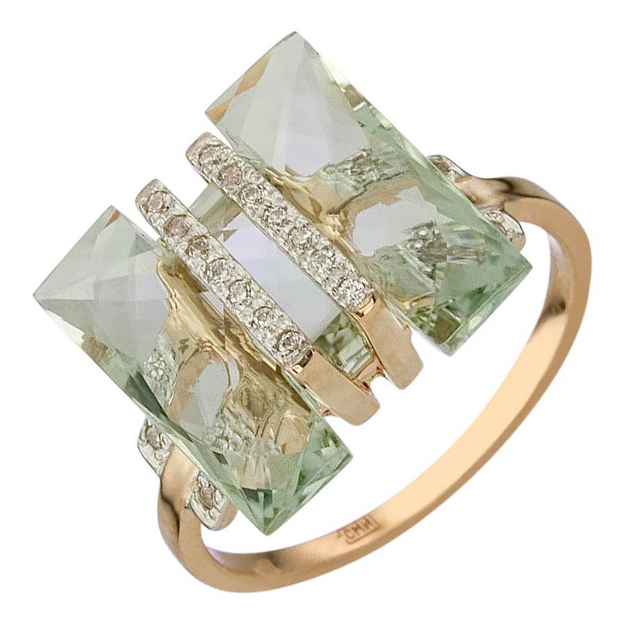 Кольцо. Аметист зеленый. Арт.1542АзКц из золота 585 пробы