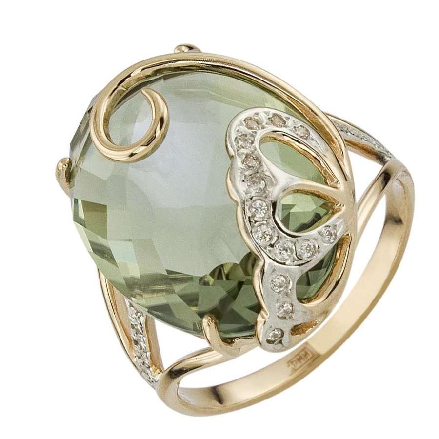 Кольцо. Аметист зеленый. Арт.1559АзКц из золота 585 пробы
