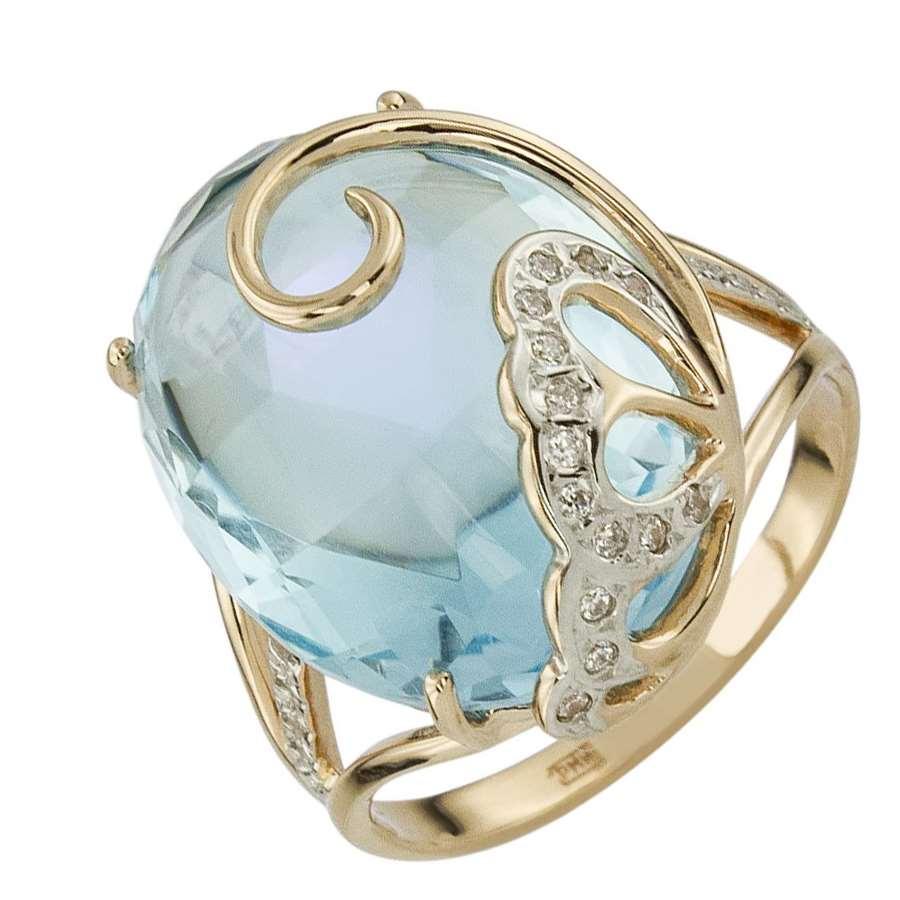 Кольцо. Голубой топаз. Арт.1559ТКц из золота 585 пробы