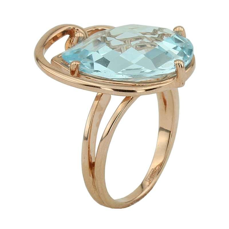 Кольцо топаз голубой  огранка (серебро 925 пр., позолота) размер 16,5