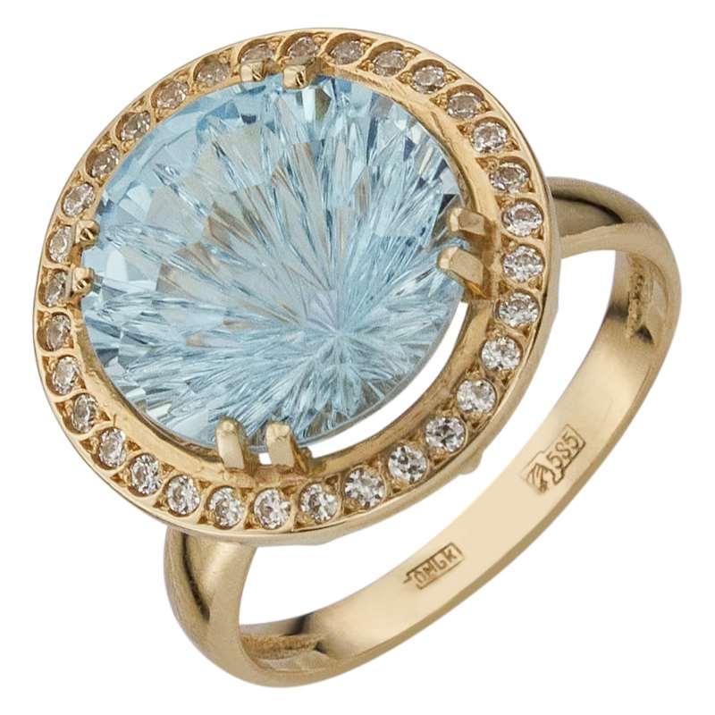 Кольцо. Голубой топаз. Арт.284ТКц из золота 585 пробы