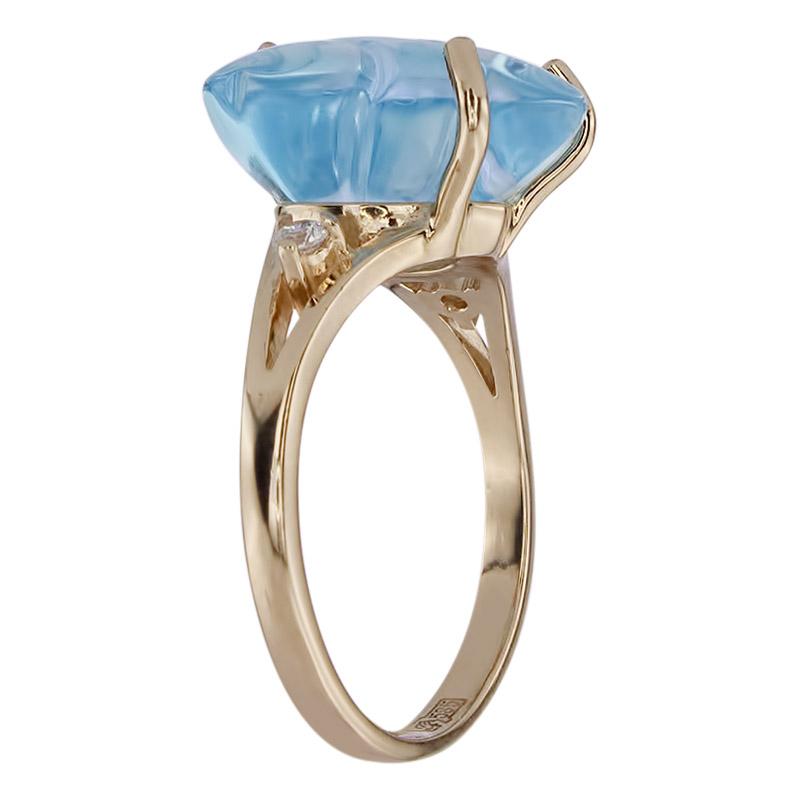 Кольцо. Голубой топаз. Арт.314ТКц из золота 585 пробы