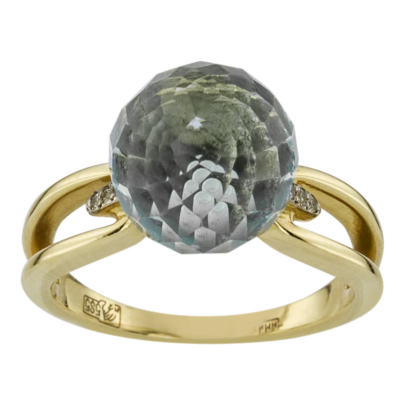 золотые кольца с голубым топазом