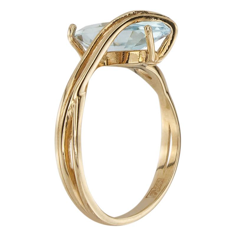 Кольцо. Голубой топаз. Арт.413Т из золота 585 пробы