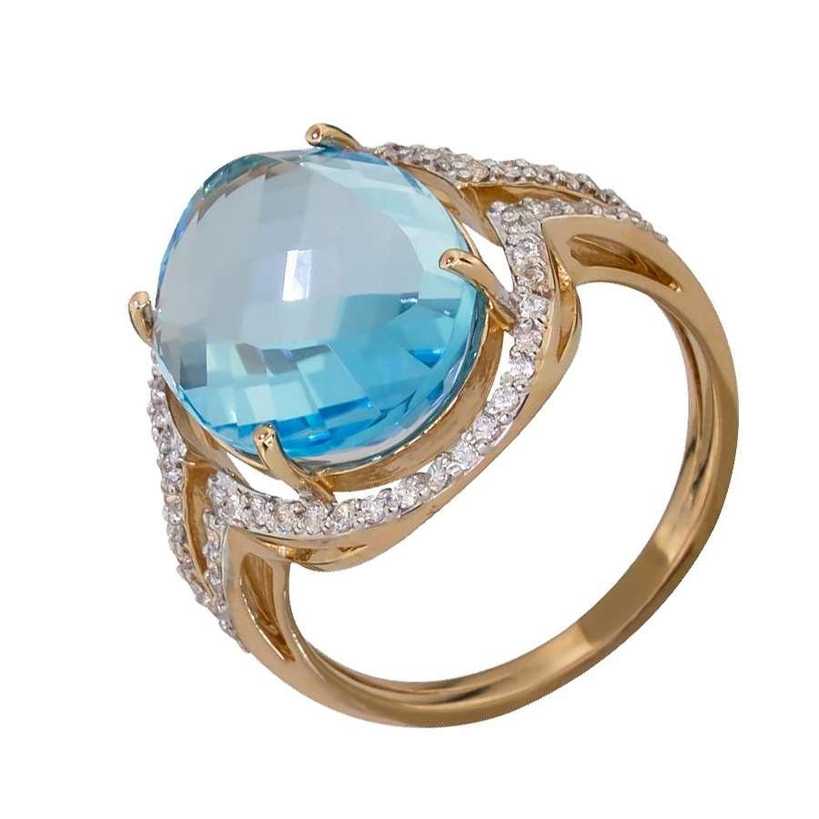 Кольцо. Голубой топаз. Арт.457ТКц из золота 585 пробы
