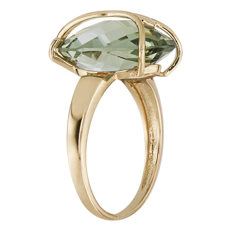 Кольцо. Аметист зеленый. Арт.566Аз из золота 585 пробы