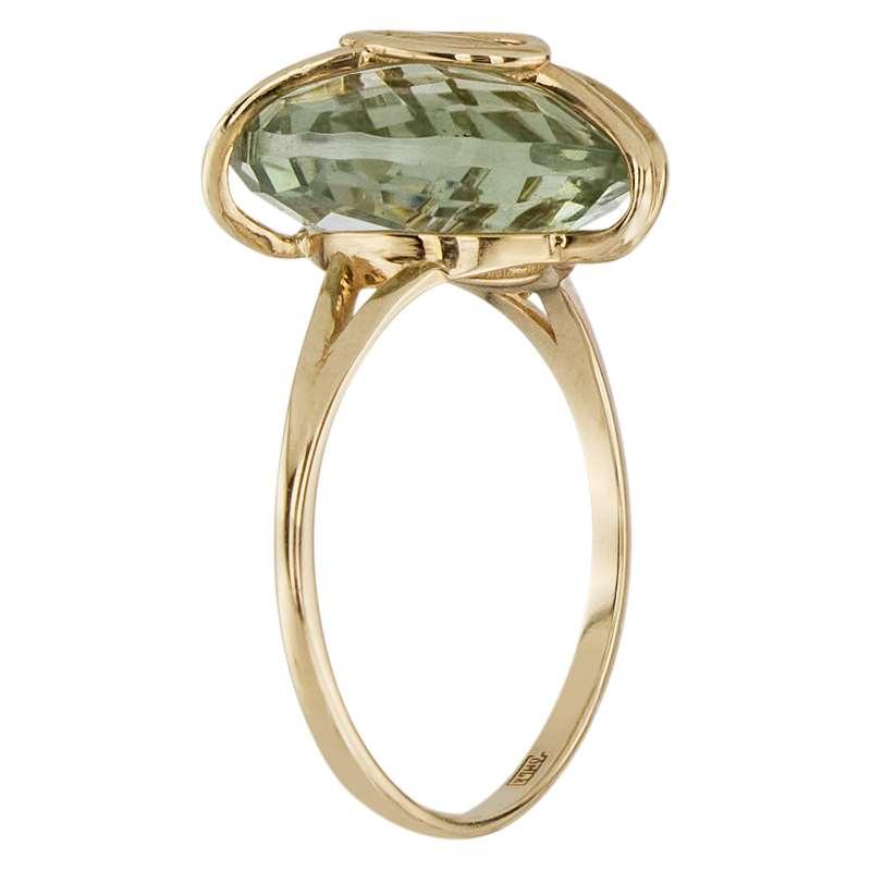 Кольцо. Аметист зеленый. Арт.595Аз из золота 585 пробы