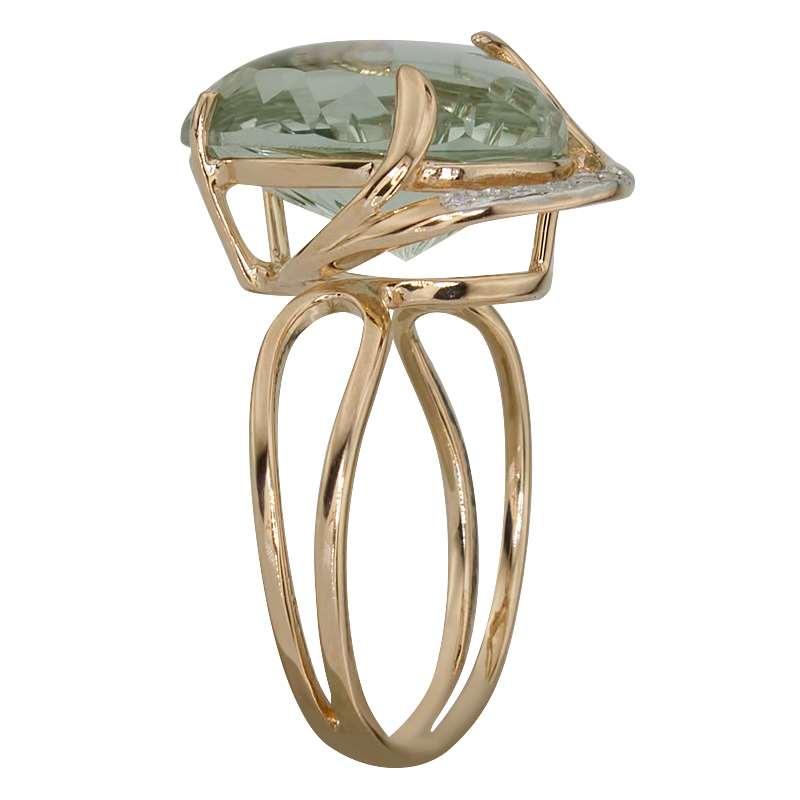 Кольцо. Аметист зеленый. Арт.639АзКц из золота 585 пробы