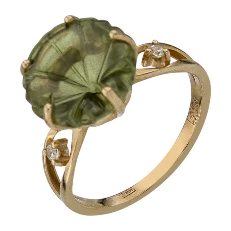 Кольцо. Хризолит. Арт.651НанохКц из золота 585 пробы