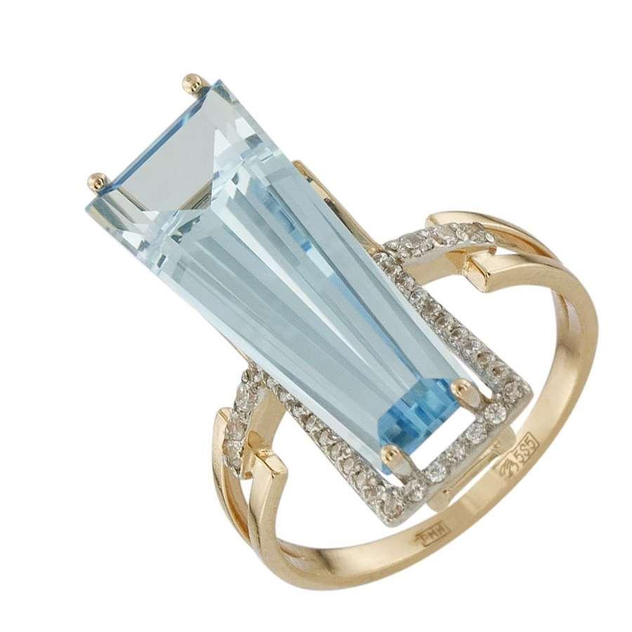 Кольцо. Голубой топаз. Арт.802ТКц из золота 585 пробы